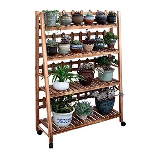 Trojan Indoor Plant Stand van massief hout met meerdere lagen plant met wielen, balkonplantenrek, plantenbak