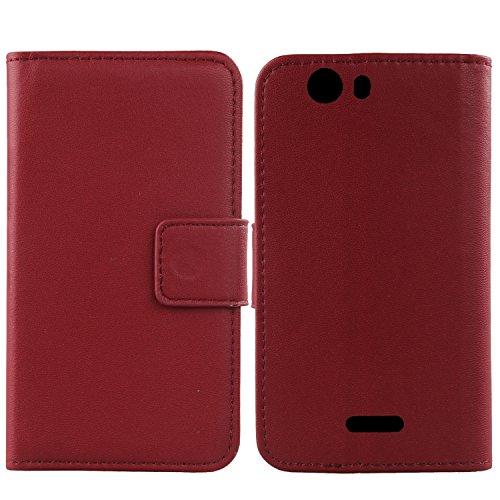 Gukas Design Echt Leder Tasche Für Wiko Ridge Fab 4G Hülle Handy Flip Brieftasche mit Kartenfächer Schutz Protektiv Genuine Premium Hülle Cover Etui Skin Shell (Dark Rot)