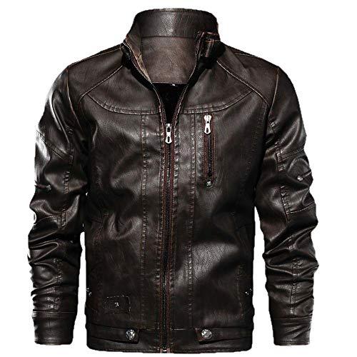 Aoogo Herren Jacke Herbst Winter Lederjacken Casual Langarm Stand Reißverschluss Lederjacke Outwear Bluse Einfarbig Vintage Motorradjacke