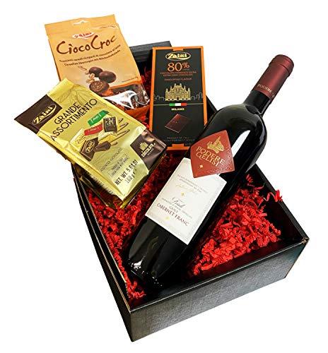 Edles Geschenkset Dunkles Genuss Duo Wein und Schokolade mit Nero d'Avola Rotwein und italienischen Schokoladenspezialitäten
