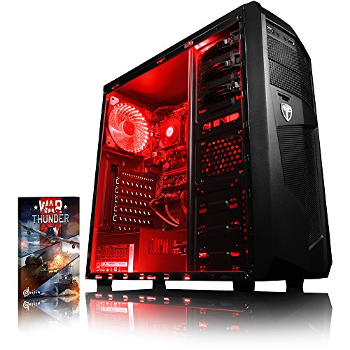 VIBOX Standard 3A - Ordenador para Gaming (AMD A8-7600, 8 GB de RAM, 1 TB de Disco Duro, AMD Radeon R7, Windows 10) Color neón Rojo