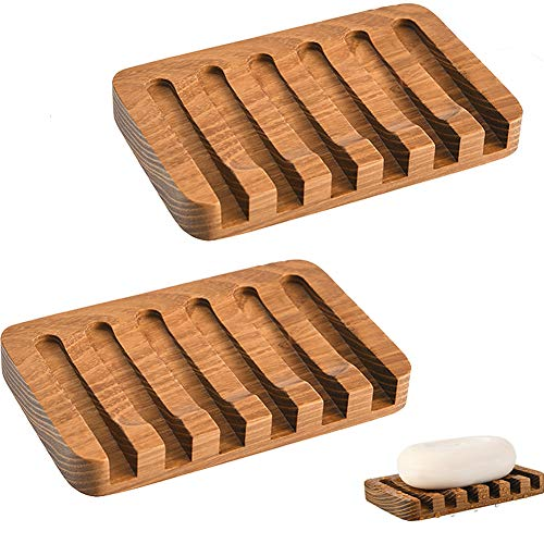 Yunly Yunly Soap Dish, Soap Holder Made of Natural Wood and Waterfall Drain Soap Box, Bamboo Soap Dish for Shower Bathroom Kitchen Sinks Countertop (Teak,2 Pieces)