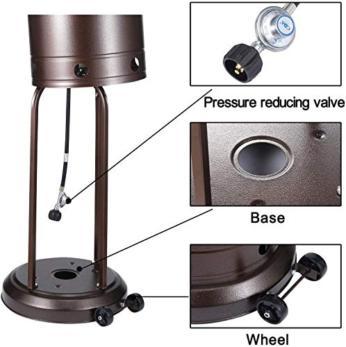 Adjustable Height Outdoor Propane Patio Heater With Wheels And Table Large Natural Gas Outdoor Heater With Stainless…