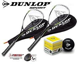 2 x Dunlop Ti Squash Series Racket Set (2 Rackets + 3 Balls) Various Options