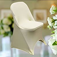 SPRINGROSE Ivory Scuba Spandex Stretch Folding Wedding Chair Covers (Set of 10)
