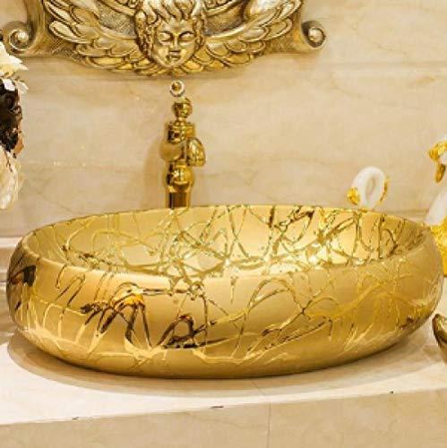 YYZD Lavabo de cerámica Lavabo de arte Jingdezhen, lavabo de arte ovalado dorado/plateado, lavabo pintado a mano, lavabo de baño solo