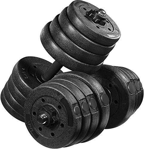 MOVTOTOP Verstellbares Kurzhantel-Set, 30 kg – solide Hanteln, 2er-Set mit leicht einstellbarer Sechskant-Sicherungsmutter für Männer und Frauen, Krafttraining, Workout für Zuhause Fitness