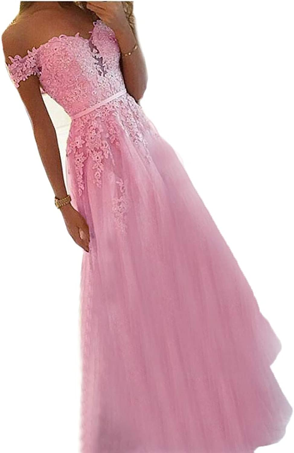 WZW Elegant Pink Prom Dresses Appliques Tulle Aline Evening Formal Dress VNeck