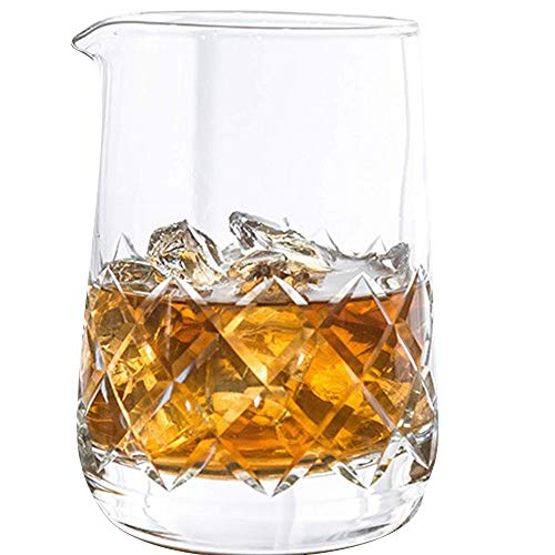 Highball & Chaser Lead Free Crystal Cocktail Mixing Glass. Beautiful 750ml (25oz) Seamless Weighted Bottom Diamond Cut Yarai Style Drink Maker