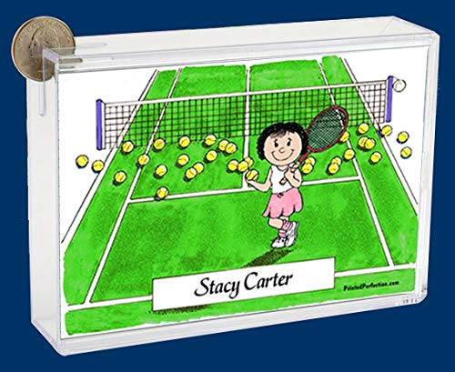 Personalized Friendly Folks Cartoon Caricature Bank: Tennis Player – Female