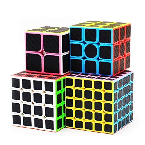 TOYESS Rompecabezas Cubo Magico Puzzle Set, Speed Cube 5x5x5 ,4x4x4,3x3x3,2x2x2 Cubo de Fibra de Carbono Cubo de Velocidad Cajas de Regalo Set para Adulto Niños,Negro