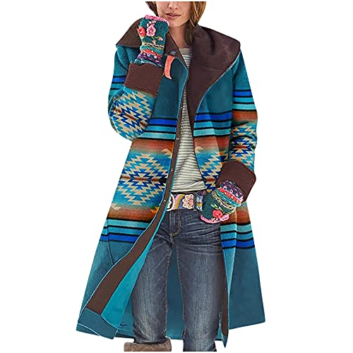 Womens Cardigan Sweaters,Casual Open Front Stripe Color Block Long Sleeve Midi Length Cardigan Jacket Blouse Shirts Blue