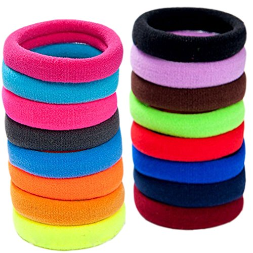 LiveZone 40-Pack High Elastic Colorful Nylon Seamless Stretch Hair Ties Bands Rope Ponytail Holders Headband Scrunchie Hair Accessories for Ladies Women Girls DIY Hairstyle,Assorted Color-4.2cm