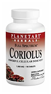 Planetary Herbals Coriolus Full Spectrum 1000mg, Powerful Cellular Immunity, 90 Tablets