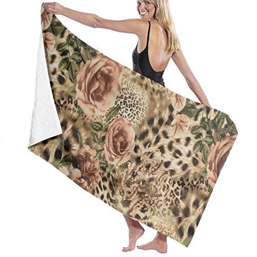 FETEAM Toallas de Playa Florales de Leopardo Toallas Ligeras de Microfibra de Secado rápido para Acampar en la Piscina para Mujeres y Hombres