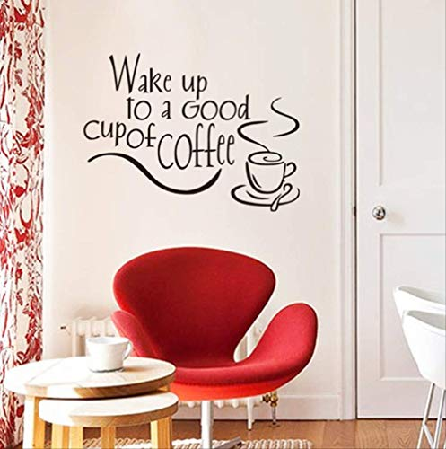 Sticker Mural Réveillez-Vous Dans Une Bonne Tasse De Café Autocollant Good Morning Wallpaper Salon Home Decal Wall Art