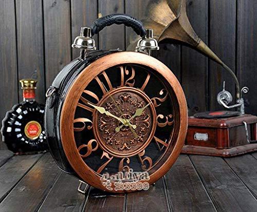 DDHZTA Retro Uhr Runde Box Handtasche Personalisierte Zeitmaschine Umhängetasche,Black