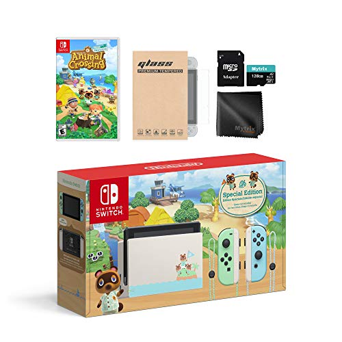 Mytrix Animal Crossing Console Switch férias Combo: Troca limitada 32GB Console, Animal Crossing New Horizon Jogo Mudar Kit Acessórios