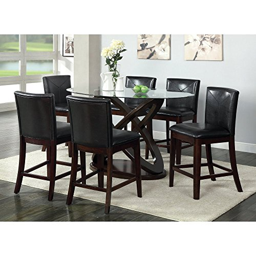 Furniture of America Ollivander 7-Piece Counter Height Glass Top Dining Table Set - Dark Walnut
