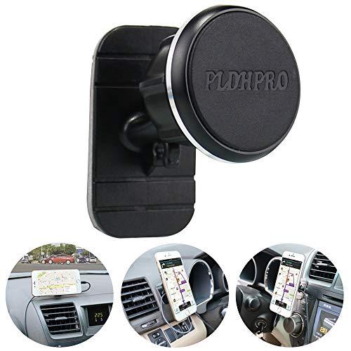 PLDHPRO Kfz-Handyhalterung, magnetisch, universell einsetzbar, um 360 Grad drehbar, für iPhone, Samsung, Sony, Google alle 4 Zoll - 6,4 Zoll Smartphones, GPS-Handys (schwarz)
