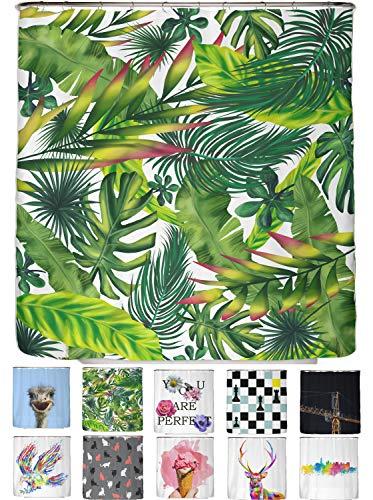 arteneur® - Dschungel Blätter- Anti-Schimmel Duschvorhang 180x200 - Beschwerter Saum, Blickdicht, Wasserdicht, Waschbar, 12 Ringe und E-Book mit Reinigungs-Tipps