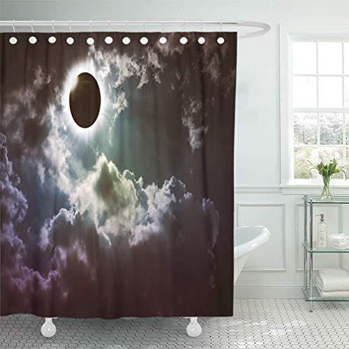 Cortina de baño Impermeable Baño Decoración para el hogar Increíble Fenómeno natural científico Eclipse solar total con efecto de anillo de diamante Juego de ganchos ajustables de tela de poliéster