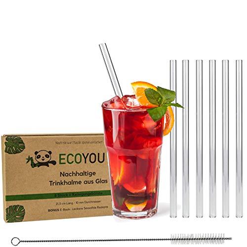 EcoYou® Glas Strohhalme 6er Set + Reinigungsbürste & Smoothie Rezepte Plastikfreie Trinkhalme 21,5 cm wiederverwendbar Zero Waste Mehrweg Straw