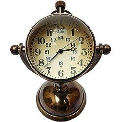 "JD'Z COLLECTION Brass Vintage Desk & Shelf Clock Compass Display Stand Marine Clock Antique Decor for Kitchen Bedroom (5"", Antique)"