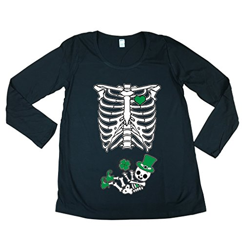 Long Sleeve St. Patrick Baby Skeleton Mom Shamrock Maternity...