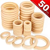 Bestsupplier 50 Pcs Unfinished Solid Wooden Rings for Craft, Ring Pendant and Connectors Jewelry Making, 5...
