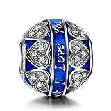 NINAQUEEN Charm Pandora adapté Cadeaux pour Femmes Cadeaux de Saint Valentin pour Elle Amour Bleu Argent 925 Zircone Cadeaux personnalisés pour la Saint-Valentin