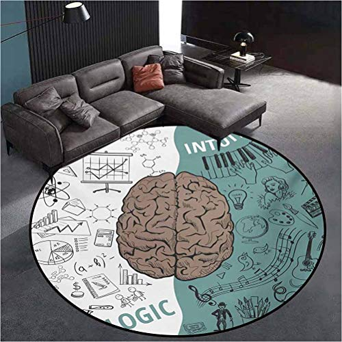 Modern Modern Area Rug Abstract Round Rug Brain Image with Left and Right Side Music Logic Artwork Side Science Print White Teal Umber79 Inch