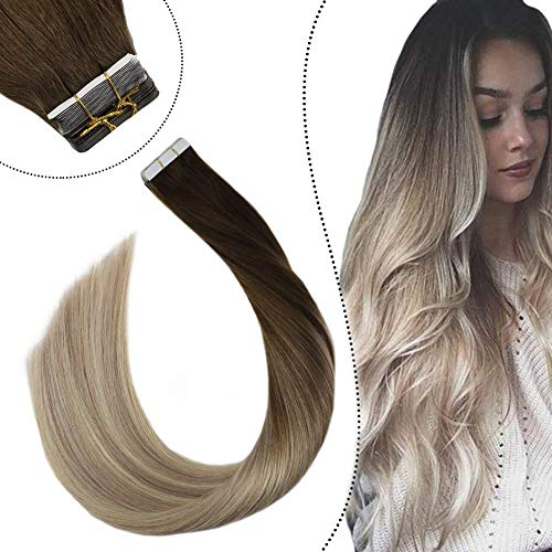 Ugeat Echthaar Tape on Extensions 45cm Remy 100% Echte Haare Seamless Skin Weft 2.5GR 20PCS Glue in Secret Haarverlangerung Dunkelbraun bis Aschblond und Mittelblond #4/18/22
