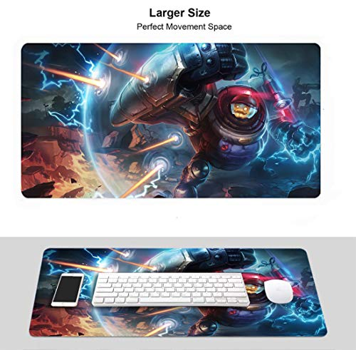 Large Gaming Mouse Pad for League Legends,LOL Stitched Edges Anti Slip Rubber Base (Riot Blitzcrank)