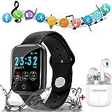 Montre Connectée Femmes Homme Enfant Smartwatch Etanche Cardiofréquencemètre + Sport Casques sans Fil Bluetooth Écouteurs 5.0 sans Fil dans l'oreille en Cours d'exécution (Noir)