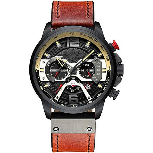 Herenhorloge, stijlvol casual horloge Multifunctioneel quartz horloge Waterdicht horloge met lichtgevende chronograaf datumfunctie,Brown