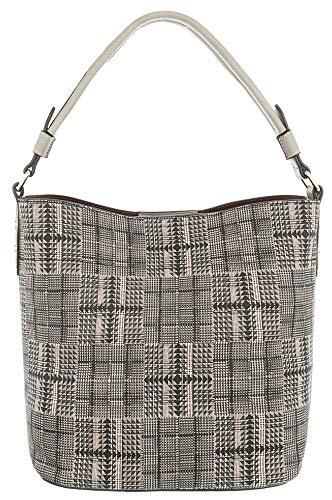 Dudlin Modische Schultertasche Model: Fein gemustert, Karos & kleine Dreiecke, mit großem Hauptfach und mehrere Innentaschen, Shopper Tasche Shopperbag Umhängetasche (grau)
