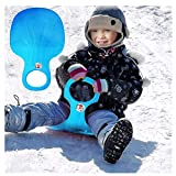 Kinder Schneeflitzer Schneerutscher Kunststoff Sand Gras Rutscher Schnee Schlitten Rodel Plastik Bob mit Handgriff für Kinder Erwachsene Winter Ski Board Zubehör (1 Pcs, Himmelblau)