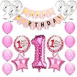 KATELUO Globos de Cumpleaños 1 Año, 1er Cumpleaños Bebe Globos Decoracion, 1 Año Bebe Niña Niño Globos Rosado Azul de Cumpleaños con Banner de Feliz (Rosado)