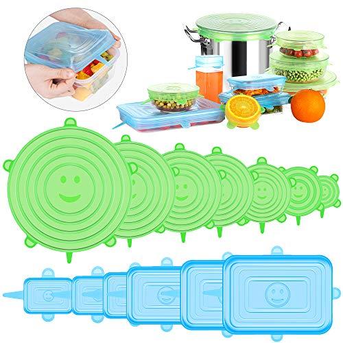 Modohe Tapas de Silicona Elásticas Reutilizables, 13 Piezas (7 Redondas y 6 Cuadradas) Tapas Silicona Ajustables Cocina, Sin BPA, para Lavavajillas, Microondas, Horno o Refrigerador