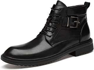 Boots For Men Ankle Shoes Lace Up Style Alloy Buckle Genuine Leather Round Toe Stitched Anti Slip Super Easygoing Waxy Shoelaces Men's Fashion (Color : Black, Size : 43 EU)