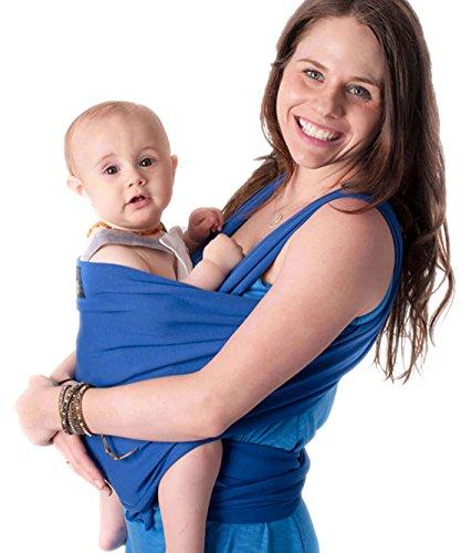 CuddleBug Fular Portabebés 9 en 1 – Canguro para Bebés Recién Nacidos y Niños hasta 16 Kg – Manos libres - Porta Bebés de Tela Suave y Elástico – Ideal como Regalo de Babyshower – Talla Única - (Azul)