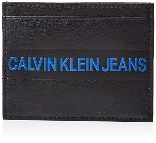CALVIN KLEIN - Monedero para hombre, diseño de rayas, Negro  (Negro) - K40K400416