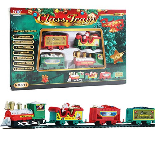 Juego de 22 trenes de Navidad para niños con luces y música, funciona con pilas, modelo clásico eléctrico con pistas, juego de tren de Navidad alrededor del árbol de Navidad, con sonidos y luces