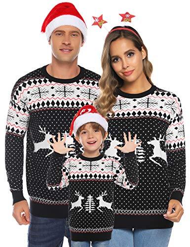 Aibrou Familie Festliche Gestrickte Pullover Weihnachtspullover Rundhals Sweater Strickpullover Schwarz-Kinder 90 (empfolen: 2-3 Jahre Alt)