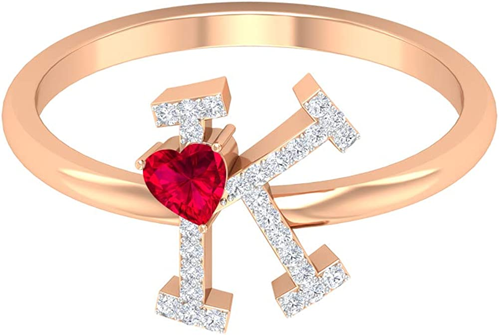 1 4 CT Ruby and Diamond Letter Jewel Ring K Alphabet Genuine Sale SALE% OFF Free Shipping Gold