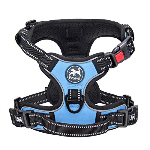 PoyPet No Pull Dog Harness, No Choke Dog Reflective Harness, Adjustable Soft Padded Pet Vest with Easy Control Handle 3 Snap Buckles (Light Blue,S)