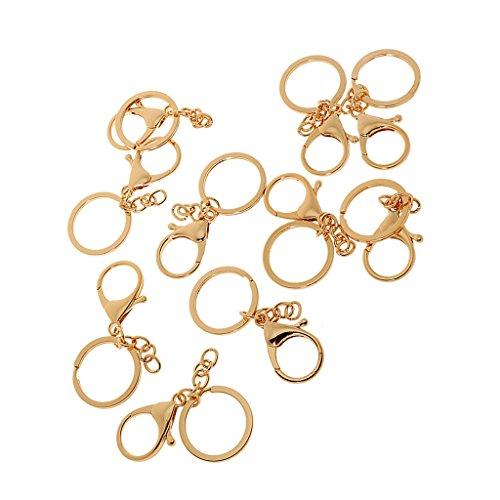 Generic 10 Stück Schwenk Karabinerhaken Haken Schlüsselanhänger Schlüsselringe - Gold, ONE Size