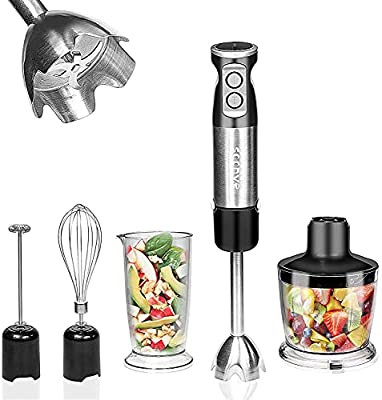 Soonye Immersion Hand Blender, Multifunctional 5-in-1 304 Stainless Stick Blender With 500ml Food Grinder, 600ml Container, Milk Frother, Egg Whisk, BPA-Free, black by soonye