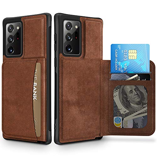 Caka Wallet Case for Galaxy Note 20 Ultra Case Card Holder Premium Leather Durable Shockproof Protective for Men Phone Case Magnetic Closure Cover for Galaxy Note 20 Ultra (6.9 inches) (Brown)